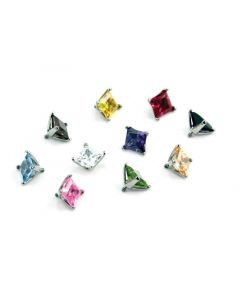 Industrial Strength Princess Cut Gem Threaded End in Surgical Steel